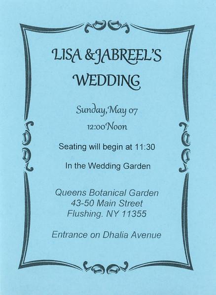 Lisa & Jabreel's wedding invitation