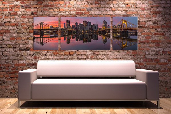 "Purchase your Fire and Mirrors Triptych <a href=""https://www.etsy.com/listing/212988879/fire-and-mirrors-pittsburgh-skyline?ref=shop_home_active_3"" target=""_blank""> HERE </a>"