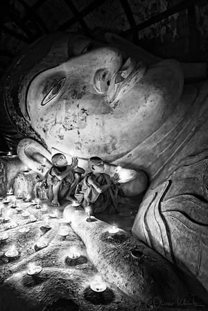 Praying monks