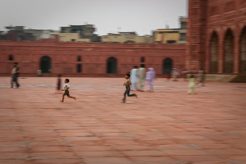 Children playing at Badshahi Mosque, Lahore