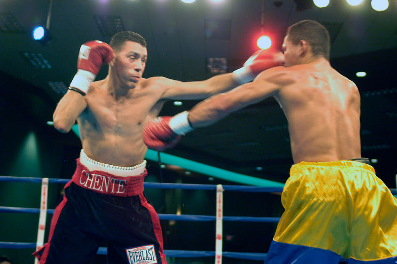 (1.27.2006 - Desert Diamond Casino, Tucson, AZ)  Vincente Escobedo lands a shot to the nose of Jesus Salvador Perez in the 3rd round of their 8 round Jr. Lighweight bout at the Desert Diamond.