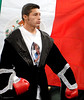 (3.30.2007 - Desert Diamond Casino)  Jhonny Gonzalez stands in front of the Mexican flag prior to his WBO Bantamweight Championship fight with Irene Pacheco.  Gonzalez ultimately prevailed with a 9th round TKO.