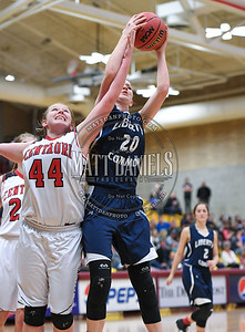 Centauri and Liberty Common compete in the 2017 Colorado State High School 3A girls basketball tournament at the University of Denver on March 9, 2017.