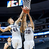 The Rocky Mountain Lutheran and Cornerstone Christian Academy Junior Varsity basketball teams play in a conference game at the Pepsi Center, in Denver Colorado on February 3, 2017.