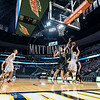 The Rocky Mountain Lutheran and Cornerstone Christian Academy basketball teams play in a conference game at the Pepsi Center, in Denver Colorado on February 3, 2017.