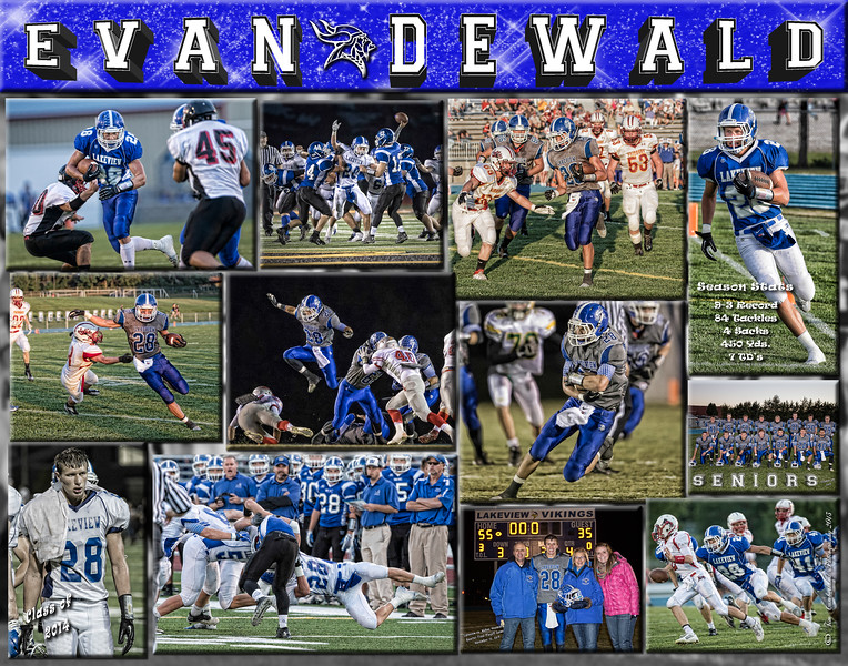 Evan Dewald 11 x 14 Football Collage