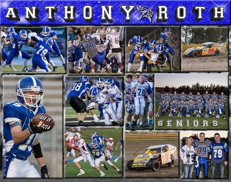 Anthony Roth 11 x 14 Football Collage