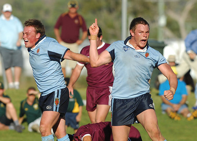 TOWNSVILLE, QLD 14 JUL 2007 - New South Wales CHS celebrate their victory - New South Wales Combined High Schools v Queensland Secondary Schools Rugby League / 2007 Under-18 Australian Schoolboys Rugby League Championships - PHOTO: CAMERON LAIRD (PH 0418 238811)
