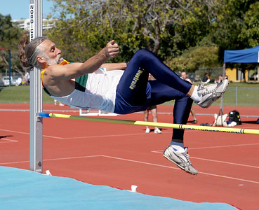 31 July 2008 Townsville, Qld - Competition at the 2008 Oceania Masters athletics meet in Townsville.  Australia's Geoff Bramley competes in the 50-54 age group high jump - Photo: Cameron Laird (Ph: 0418 238811)