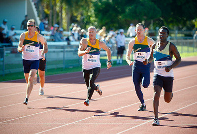 31 July 2008 Townsville, Qld - Competition at the 2008 Oceania Masters athletics meet in Townsville.  Competition in the 45-49 age group 100 metres - Photo: Cameron Laird (Ph: 0418 238811)