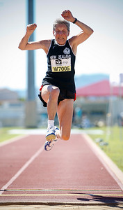31 July 2008 Townsville, Qld - Competition at the 2008 Oceania Masters athletics meet in Townsville.  New Zealand's Judy Hammond competes in the 70-74 age group long jump - Photo: Cameron Laird (Ph: 0418 238811)