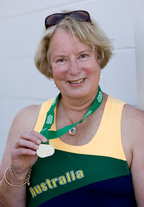 31 July 2008 Townsville, Qld - Competition at the 2008 Oceania Masters athletics meet in Townsville.  Winner of the 65-69 age group heavy shot competition Jan Banens - Photo: Cameron Laird (Ph: 0418 238811)