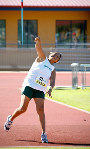 31 July 2008 Townsville, Qld - Competition at the 2008 Oceania Masters athletics meet in Townsville.  Cook Islands competitor Teraimateitia Hill has her third throw in the 55-59 age group javelin event - Photo: Cameron Laird (Ph: 0418 238811)