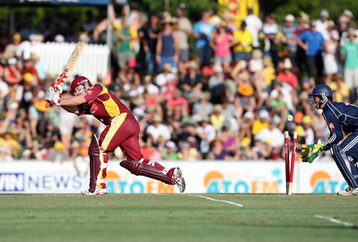 31 Dec 2007 Townsville, Qld, Australia -  Bull Craig Philipson is bowled by David Hussey during the Queensland Bulls v Victoria Bushrangers 20/20 match at Townsville's Riverway Stadium - PHOTO: CAMERON LAIRD (Ph: 0418 238811)
