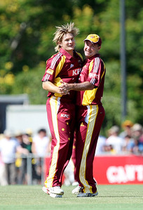 31 Dec 2007 Townsville, Qld, Australia -  Shane Watson celebrates the wicket of Brad Hodge during the Queensland Bulls v Victoria Bushrangers 20/20 match at Townsville's Riverway Stadium - PHOTO: CAMERON LAIRD (Ph: 0418 238811)
