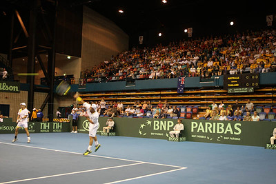 12 April 2008 Townsville, Qld, Australia: Lleyton Hewitt in action during his Davis Cup doubles match with Paul Hanley against Thailand's Weerapat Doakmaiklee and Kirati Siributwong.  Australia went on to win in straight sets taking the round - three rubbers to nil - Photo: Cameron Laird (Ph: 0418 238811)