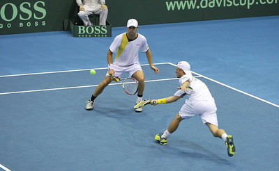 12 April 2008 Townsville, Qld, Australia: Lleyton Hewitt and Paul Hanley in action during their Davis Cup doubles match against Thailand's Weerapat Doakmaiklee and Kirati Siributwong.  Australia went on to win in straight sets taking the round - three rubbers to nil - Photo: Cameron Laird (Ph: 0418 238811)
