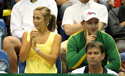 12 April 2008 Townsville, Qld, Australia: Bec Hewitt and brother Shaun watch Lleyton Hewitt in action during his Davis Cup doubles match with Paul Hanley against Thailand's Weerapat Doakmaiklee and Kirati Siributwong.  Australia went on to win in straight sets taking the round - three rubbers to nil - Photo: Cameron Laird (Ph: 0418 238811)