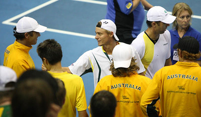 12 April 2008 Townsville, Qld, Australia: Lleyton Hewitt is congratulated by teammates after his Davis Cup doubles match with Paul Hanley against Thailand's Weerapat Doakmaiklee and Kirati Siributwong.  Australia won in straight sets taking the round three rubbers to nil - Photo: Cameron Laird (Ph: 0418 238811)