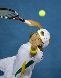 13 April 2008 Townsville, Qld, Australia - Davis Cup Asia-Oceania zone group 1 second round.  Australia's Peter Luczak plays Thailand's Danai Udomchoke in the fourth rubber.  Luczak went on to win in three sets - Photo: Cameron Laird (Ph: 0418 238811)
