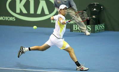 12 April 2008 Townsville, Qld, Australia: Paul Hanley in action during his Davis Cup doubles match with Lleyton Hewitt against Thailand's Weerapat Doakmaiklee and Kirati Siributwong.  Australia went on to win in straight sets taking the round - three rubbers to nil - Photo: Cameron Laird (Ph: 0418 238811)