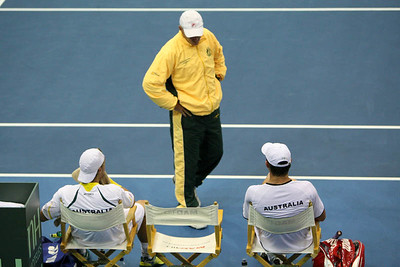 12 April 2008 Townsville, Qld, Australia: Captain John Fitzgerald talks to the Australian doubles team of Lleyton Hewitt and Paul Hanley during their Davis Cup doubles match against Thailand's Weerapat Doakmaiklee and Kirati Siributwong.  Australia went on to win in straight sets taking the round - three rubbers to nil - Photo: Cameron Laird (Ph: 0418 238811)