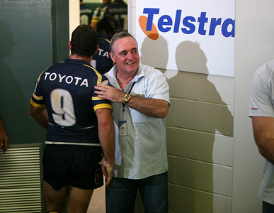 08 Sep 2007 Townsville, Qld, Australia - Coach Graham Murray congratulates hooker Aaron Payne as the leave the field after their 20-18 win over the Bulldogs - North Queensland Cowboys v Bulldogs (Dairy Farmers Stadium) - PHOTO: CAMERON LAIRD (Ph: 0418 238811)