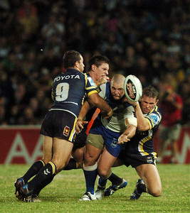 08 Sep 2007 Townsville, Qld, Australia - Mark O'Meley is brought down by the Cowboys defence - North Queensland Cowboys v Bulldogs (Dairy Farmers Stadium) - PHOTO: CAMERON LAIRD (Ph: 0418 238811)