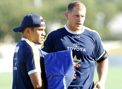 26 AUG 2006 TOWNSVILLE, QLD - Matt Bowen and Travis Norton at Cowboys training before their away match against the Rabbitohs - PHOTO: CAMERON LAIRD