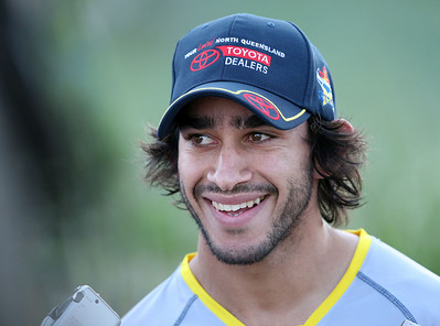 15 Sep 2007 Townsville, Qld, Australia - Johnathan Thurston jokes with the media before Cowboys training - PHOTO: CAMERON LAIRD (Ph: 0418 238811)