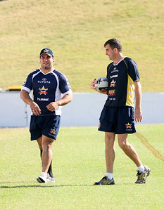 15 Sep 2007 Townsville, Qld, Australia - Carl Webb (talking with coaching staff) makes a surprise appearance at Cowboys training - PHOTO: CAMERON LAIRD (Ph: 0418 238811)