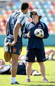 14 June 2008 Townsville, Qld - Sione Faumuina talks with interim coach Ian Millward at Cowboys training -  Photo: Cameron Laird (Ph: 0418 238811)
