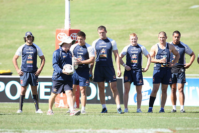 14 June 2008 Townsville, Qld - Interim coach Ian Millward talks with his players at Cowboys training -  Photo: Cameron Laird (Ph: 0418 238811)
