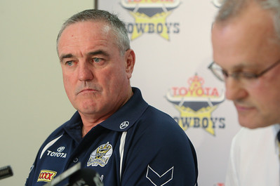 19 May 2008 Townsville, Qld - North queensland Cowboys coach Graham Murray announces his resignation from the club.  Pictured with football manager Dean Lance - Photo: Cameron Laird (Ph: 0418 238811)