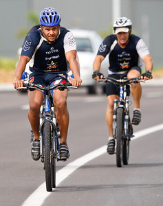 06 January 2009 Townsville, Qld - Billy Johnstone trails Matt Bowen on an intensive bike session at North Queensland Cowboys training - Photo: Cameron Laird (Ph: 0418 238811)