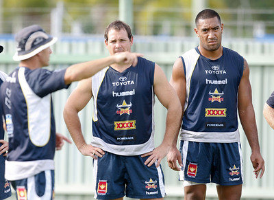 06 January 2009 Townsville, Qld - Matt Scott and Manase Manuokafoa listen to coach Neil Henry at North Queensland Cowboys training - Photo: Cameron Laird (Ph: 0418 238811)