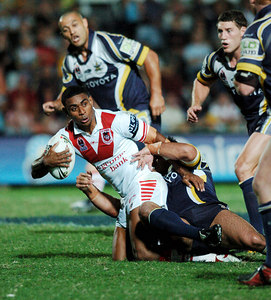 05 AUG 2005 TOWNSVILLE, QLD - Wes Naiqama with the ball - (North Queensland Cowboys v St George Illawarra Dragons, Dairy Farmers Stadium, Townsville) - PHOTO: CAMERON LAIRD