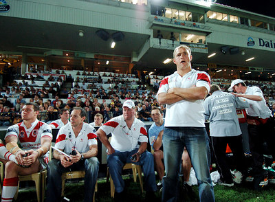 05 AUG 2005 TOWNSVILLE, QLD - Nathan Brown on the sideline - (North Queensland Cowboys v St George Illawarra Dragons, Dairy Farmers Stadium, Townsville) - PHOTO: CAMERON LAIRD