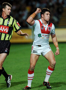 05 AUG 2005 TOWNSVILLE, QLD - Trent Barrett celebrates a second half try - (North Queensland Cowboys v St George Illawarra Dragons, Dairy Farmers Stadium, Townsville) - PHOTO: CAMERON LAIRD