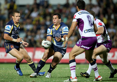 26 April 2008 Townsville, Qld - Carl Webb offloads during the first haf - North Queensland Cowboys v Melbourne Storm (Dairy Farmers Stadium) - Photo: Cameron Laird (Ph: 0418 238811)