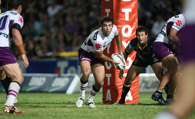 26 April 2008 Townsville, Qld - Cameron Smith passes from dummy half during the Storm's 12-10 win over the Cowboys - North Queensland Cowboys v Melbourne Storm (Dairy Farmers Stadium) - Photo: Cameron Laird (Ph: 0418 238811)