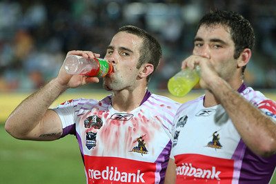 26 April 2008 Townsville, Qld - Storm winger Steve Turner displays his battle wounds after their 12-10 win over the Cowboys - North Queensland Cowboys v Melbourne Storm (Dairy Farmers Stadium) - Photo: Cameron Laird (Ph: 0418 238811)