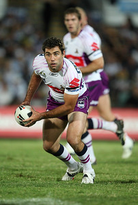 26 April 2008 Townsville, Qld - Storm hooker Cameron Smith offloads - North Queensland Cowboys v Melbourne Storm (Dairy Farmers Stadium) - Photo: Cameron Laird (Ph: 0418 238811)