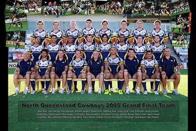 "26 SEP 2005 TOWNSVILLE, QLD - North Queensland Cowboys grand final team photo (Back Row - Josh Hannay, Paul Bowman, Mitchell Sargent, Shane Tronc, Matthew Scott, Justin Smith, Luke O'Donnell, Jacob Lillyman / Middle Row - Steve Sartori, Greg Winter, David Faiumu, Rod Jensen, Ty Williams, Steve Southern, Johnathan Thurston, Brenton Bowen, Brett Firman, Aaron Payne, Peter Parr / Front Row - Billy Johnstone, Matt Sing, Neil Henry, Travis Norton, Graham Murray, Paul Rauhihi, Kelly Egan, Matt Bowan, Glen Murphy) - PHOTO: CAMERON LAIRD  These team photographs are available in four sizes - 10""x15"", 12""x18"", 16""x24"" and 24""x36"".  Taken the day before the Cowboys left Townsville for the 2005 NRL Grand Final they are a great collectors item for the keen supporter.  They look their best custom framed with a 3"" or 4"" matboard."
