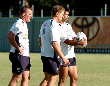 22-SEP-2004  TOWNSVILLE, QLD - Cowboys training (from left) Kevin Campion, Travis Norton and Matt Sing - PHOTO: CAMERON LAIRD