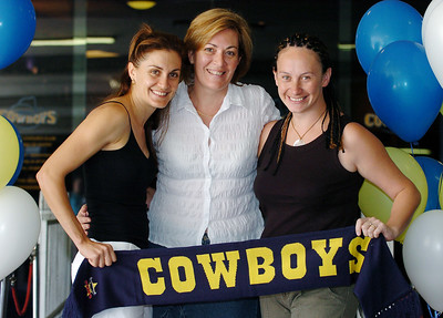 24-SEP-2004  TOWNSVILLE, QLD - Wishing their men good luck on Sunday are (from left) Belinda O'Rourke (Nathan Fien's wife), Amanda Murray (Graham Murray's wife) and Maeva Tauroa (Paul Rauhihi's wife) - PHOTO: CAMERON LAIRD