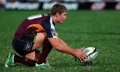 12 MAY 2006 TOWNSVILLE, QLD - Berrick Barnes lines up a conversion during the Queensland Reds 22-16 win over the Highlanders in their Super 14 clash at Dairy Farmers Stadium, Townsville - PHOTO: CAMERON LAIRD