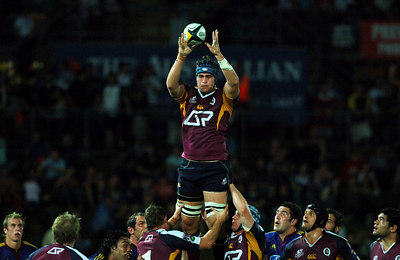 12 MAY 2006 TOWNSVILLE, QLD - Second rower James Horwill takes a linout ball during the Queensland Reds Super 14 match against the Highlanders at Dairy Farmers Stadium, Townsville - PHOTO: CAMERON LAIRD