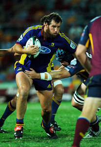 12 MAY 2006 TOWNSVILLE, QLD - Carl Hayman with the ball during the Highlanders 16-22 loss to the Reds in their Super 14 clash at Dairy Farmers Stadium, Townsville - PHOTO: CAMERON LAIRD