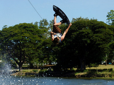 08 JUL 2006 TOWNSVILLE, QLD - Sydney's Drew Ghantous performs at the Coca Cola Ross River Rampage national wakeboarding competition.  It is part of a nine day program celebrating the opening of the Thuringowa Riverway project - PHOTO: CAMERON LAIRD